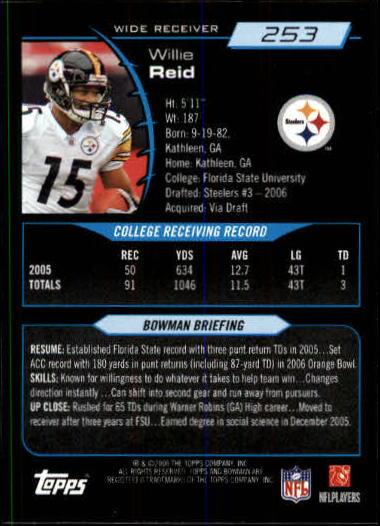 2006 Bowman #253 Willie Reid RC back image