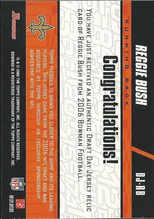 2006 Bowman Draft Day Selections Relics #DJRB Reggie Bush Jsy