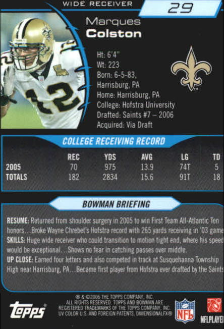 2006 Bowman Chrome #29 Marques Colston RC back image