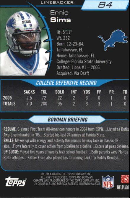 2006 Bowman Chrome #84 Ernie Sims RC back image