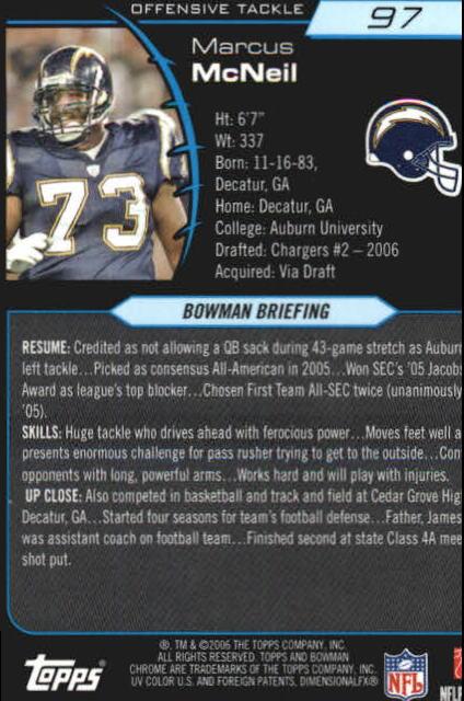 2006 Bowman Chrome #97 Marcus McNeill RC back image