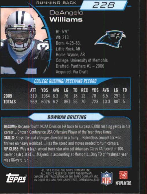 2006 Bowman Chrome #228 DeAngelo Williams RC back image