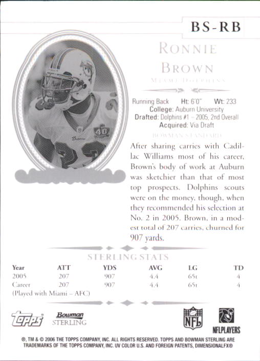 2006 Bowman Sterling #RB3 Ronnie Brown JSY back image