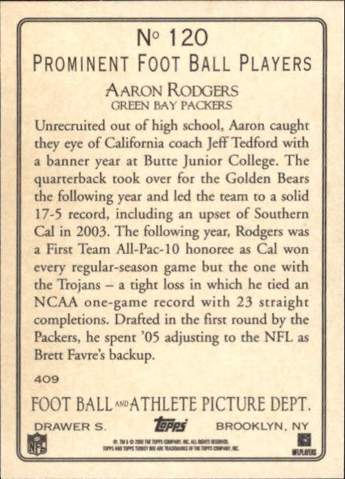2006 Topps Turkey Red #120 Aaron Rodgers back image