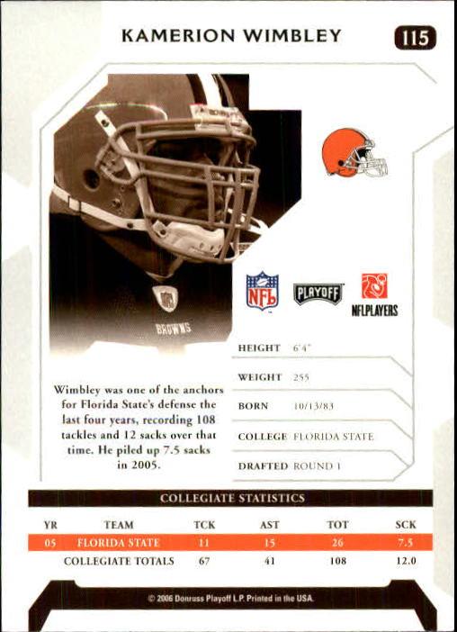 2006 Playoff NFL Playoffs #115 Kamerion Wimbley RC back image