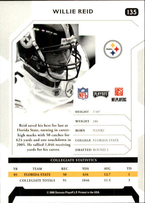 2006 Playoff NFL Playoffs #135 Willie Reid RC back image