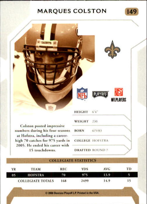 2006 Playoff NFL Playoffs #149 Marques Colston RC back image