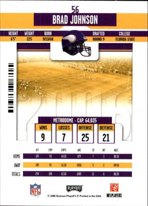 2006 Playoff Contenders #56 Brad Johnson back image