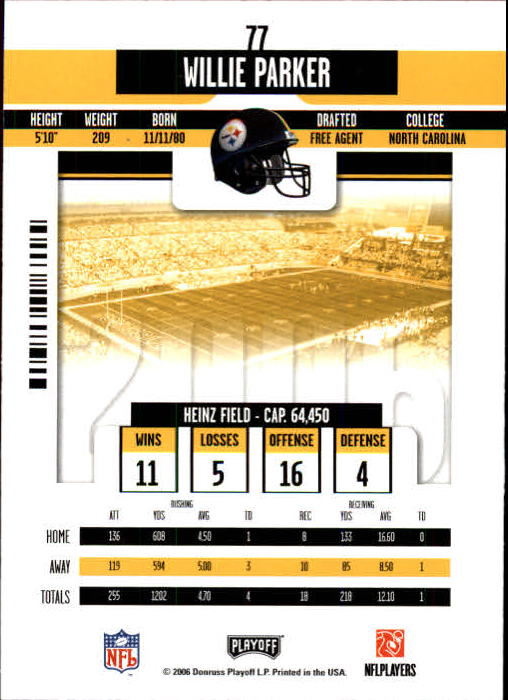 2006 Playoff Contenders #77 Willie Parker back image