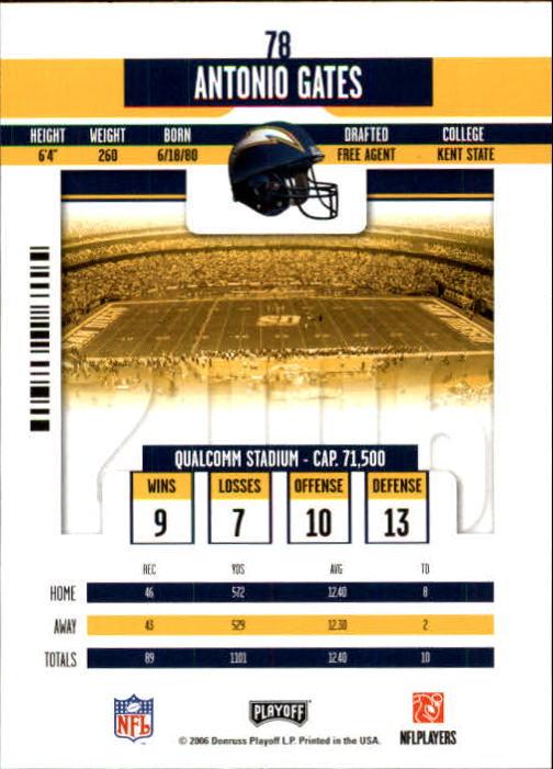 2006 Playoff Contenders #78 Antonio Gates back image
