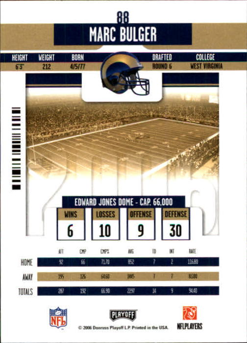 2006 Playoff Contenders #88 Marc Bulger back image