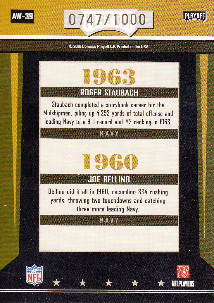 2006 Playoff Contenders Award Winners #39 Roger Staubach/Joe Bellino back image