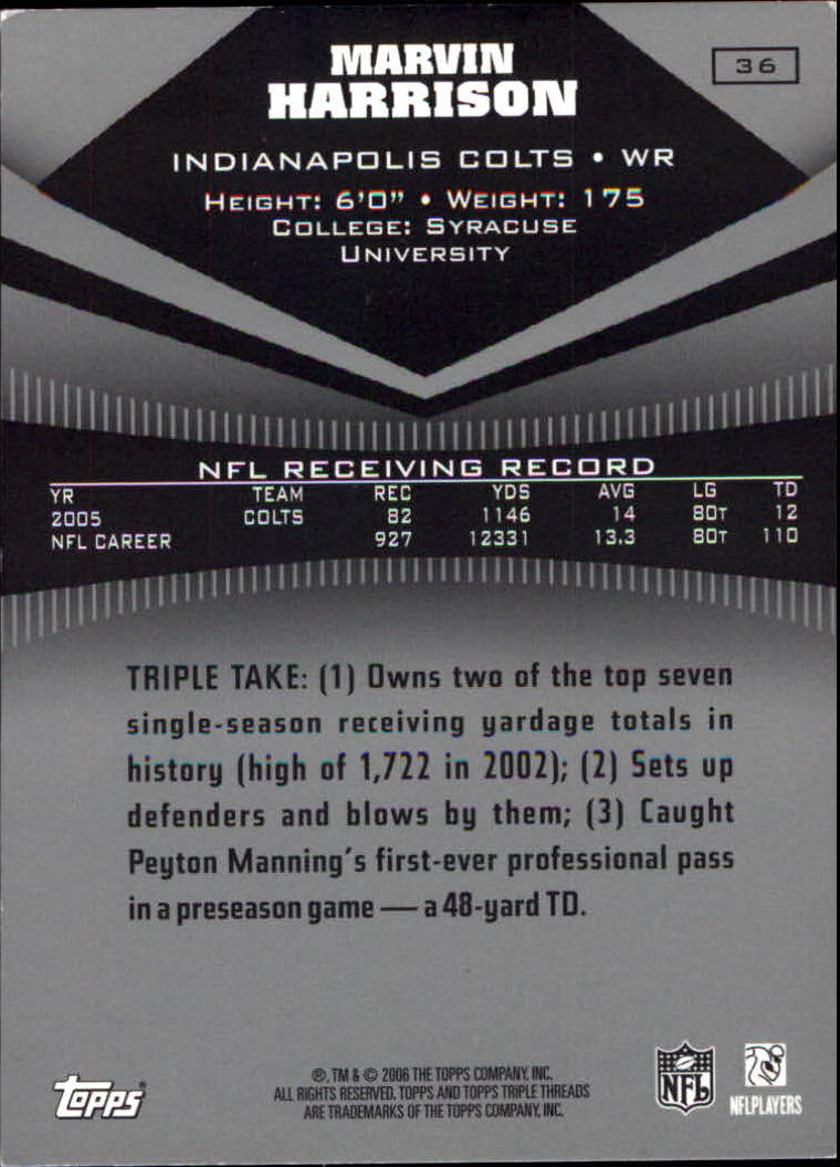 2006 Topps Triple Threads #36 Marvin Harrison back image