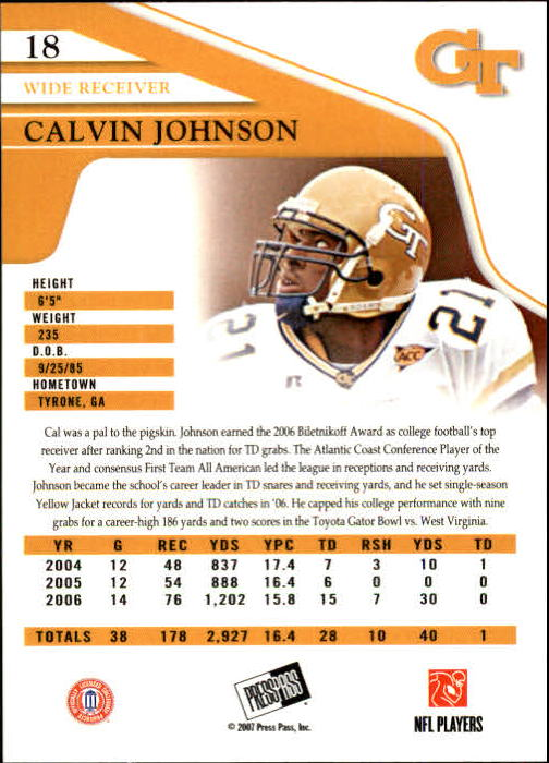 2007 Press Pass #18 Calvin Johnson back image
