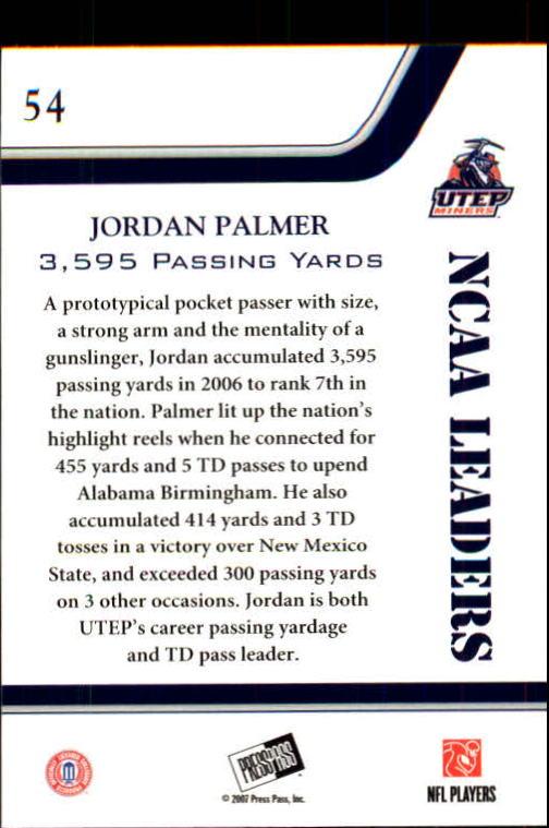 2007 Press Pass #54 Jordan Palmer LDR back image
