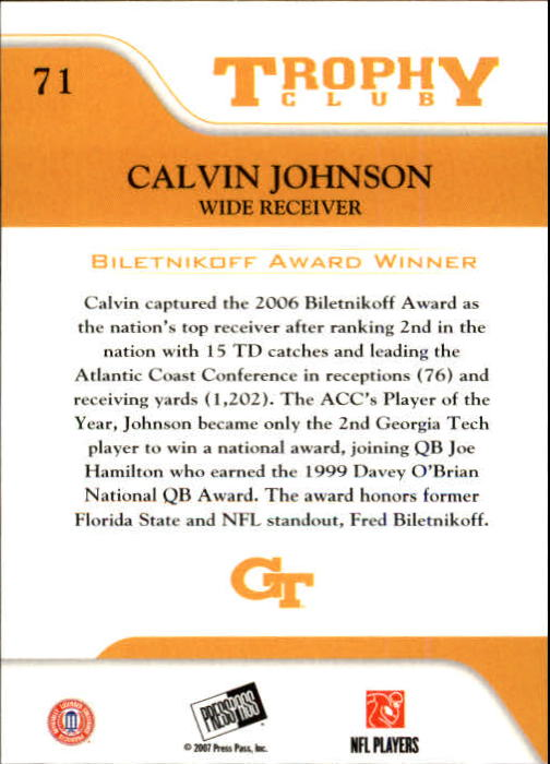 2007 Press Pass #71 Calvin Johnson TC back image