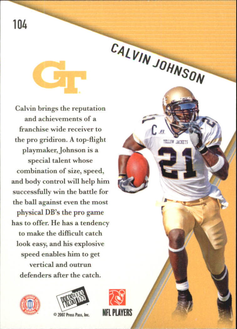 2007 Press Pass #104 Calvin Johnson PP back image