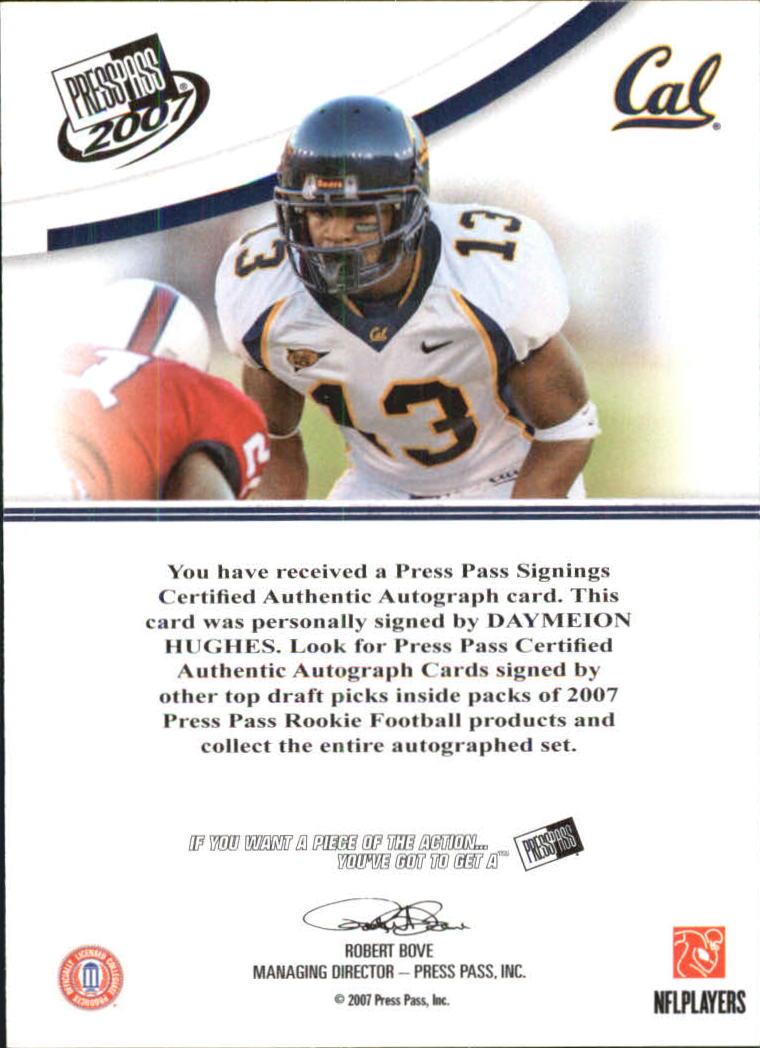 2007 Press Pass Autographs Blue #27 Daymeion Hughes/45* back image