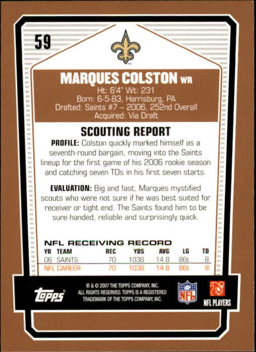 2007 Topps Draft Picks and Prospects #59 Marques Colston back image
