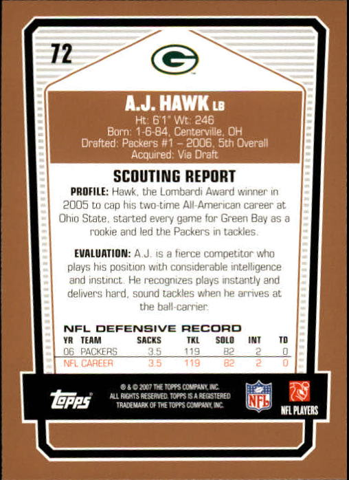 2007 Topps Draft Picks and Prospects #72 A.J. Hawk back image
