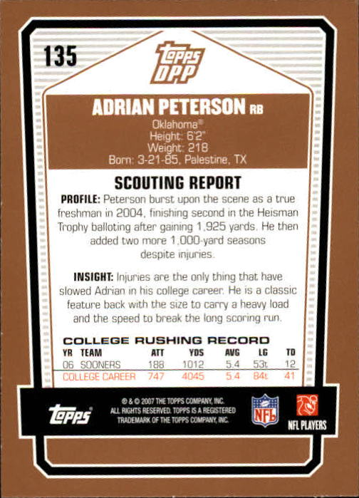 2007 Topps Draft Picks and Prospects #135 Adrian Peterson RC back image