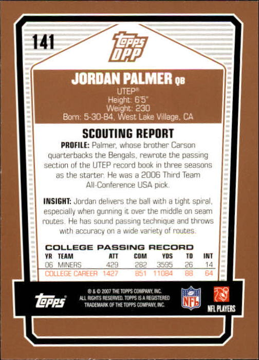 2007 Topps Draft Picks and Prospects #141 Jordan Palmer RC back image