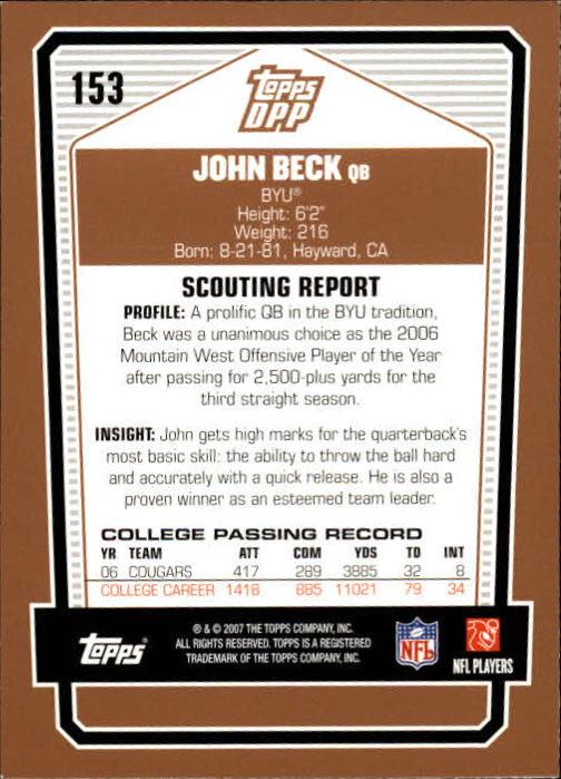 2007 Topps Draft Picks and Prospects #153 John Beck RC back image