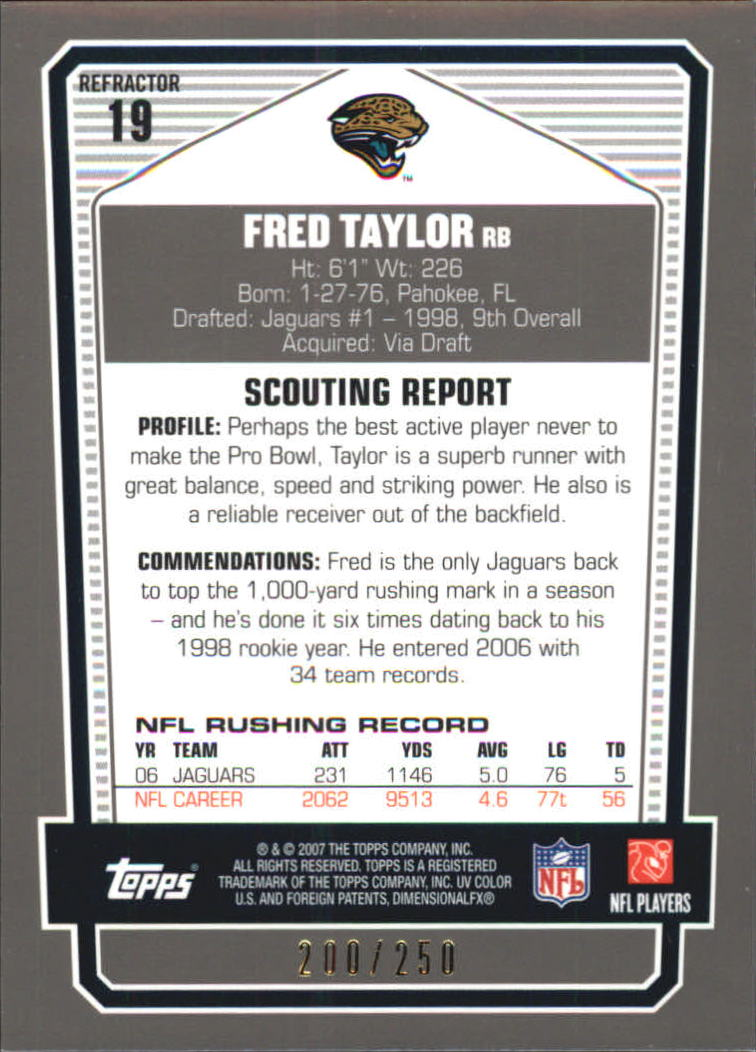 2007 Topps Draft Picks and Prospects Chrome Bronze Refractors #19 Fred Taylor back image
