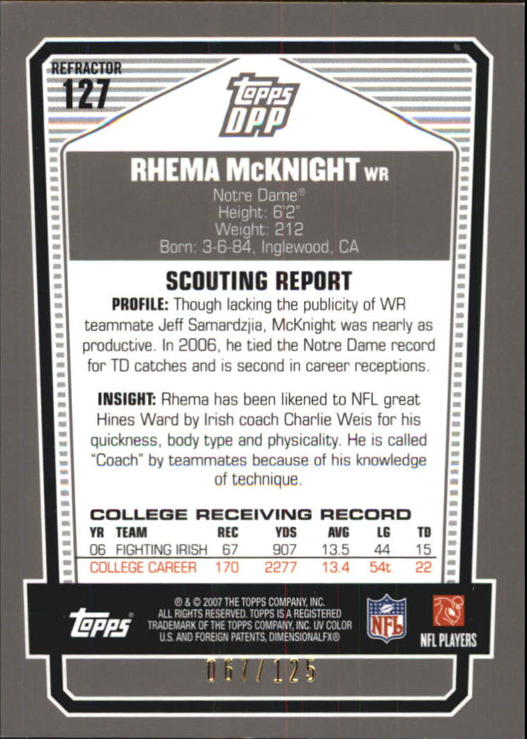 2007 Topps Draft Picks and Prospects Chrome Silver Refractors #127 Rhema McKnight back image
