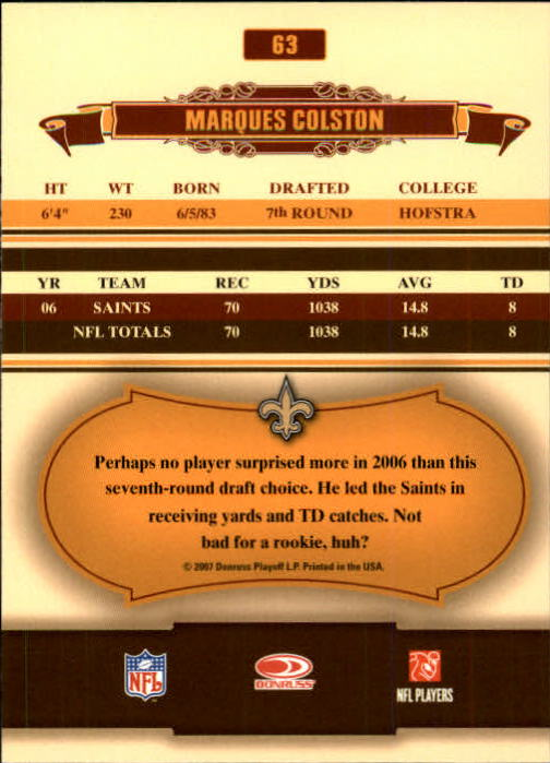 2007 Donruss Classics #63 Marques Colston back image