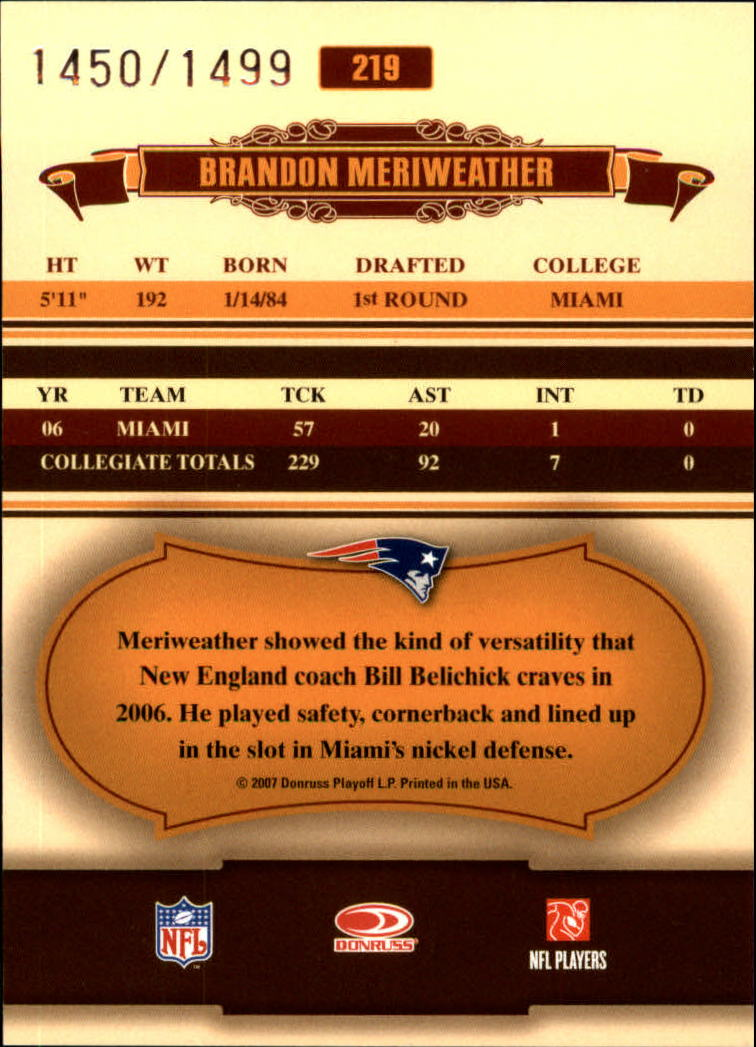 2007 Donruss Classics #219 Brandon Meriweather/1499 RC back image
