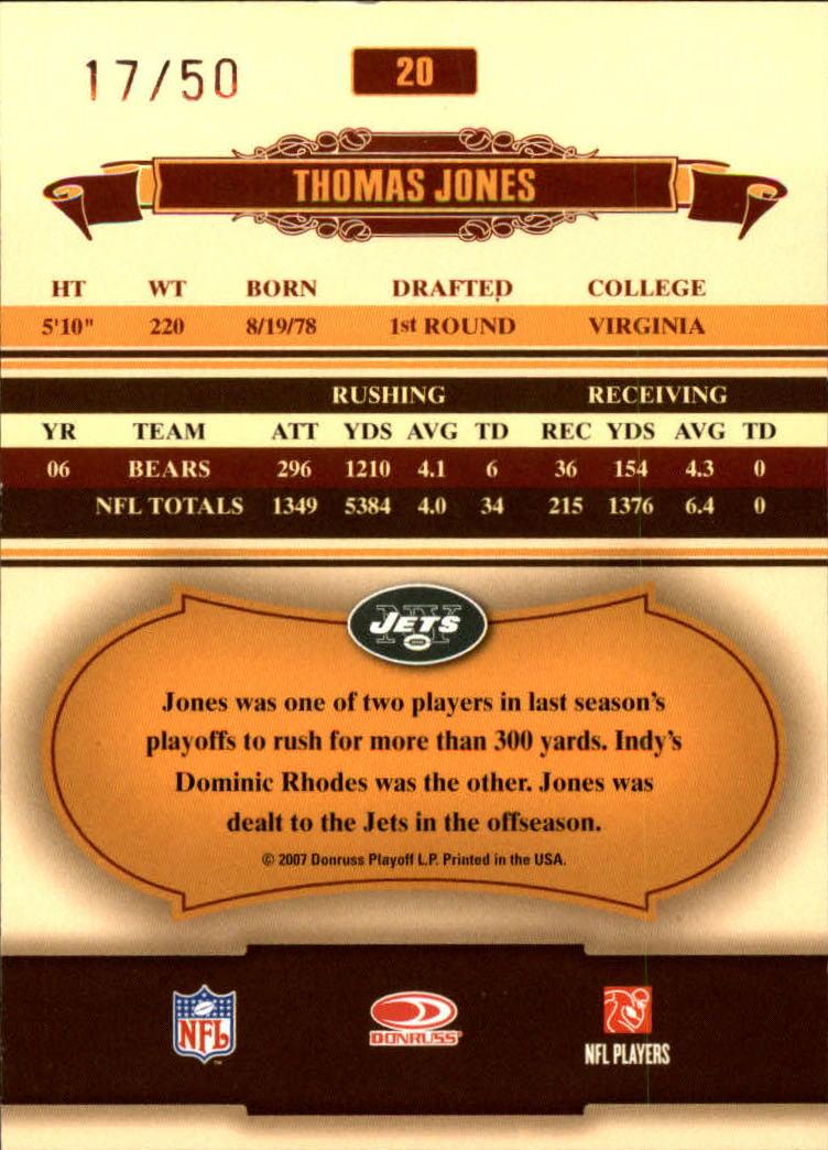 2007 Donruss Classics Timeless Tributes Silver #20 Thomas Jones back image