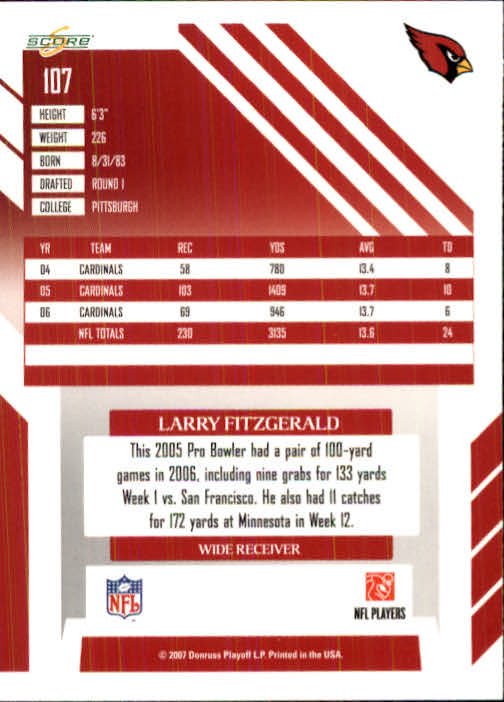 2007 Score #107 Larry Fitzgerald back image
