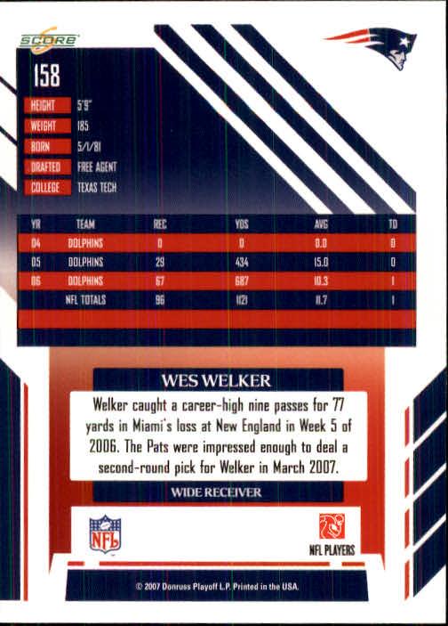 2007 Score #158 Wes Welker back image