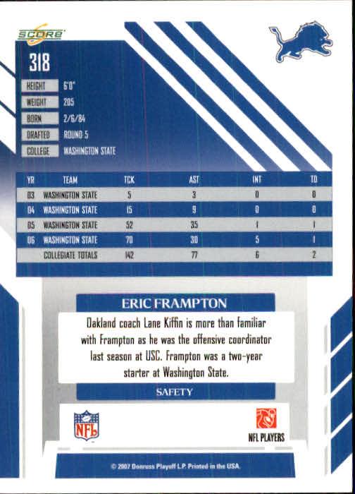 2007 Score #318 Eric Frampton RC back image