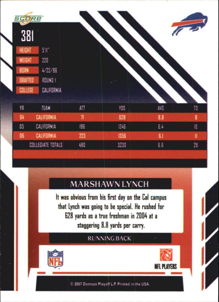 2007 Score Atomic #381 Marshawn Lynch back image