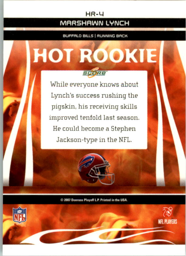 2007 Score Hot Rookies #4 Marshawn Lynch back image