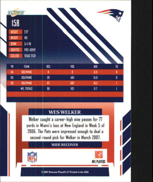 2007 Select #158 Wes Welker back image