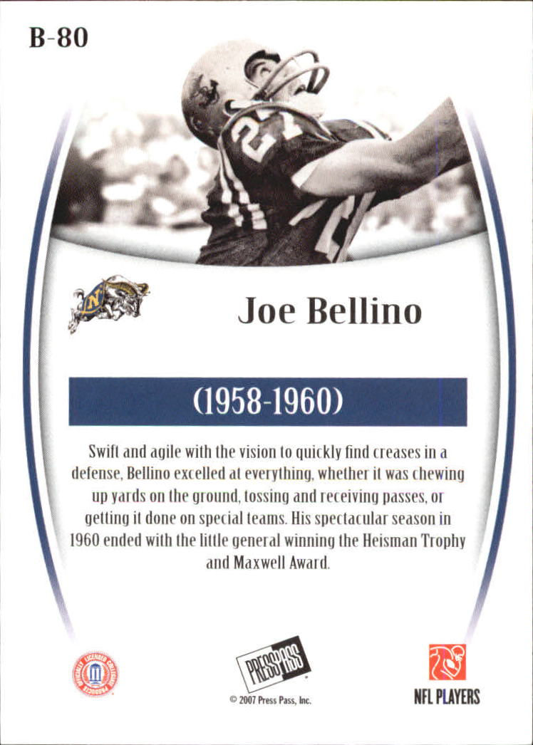 2007 Press Pass Legends Bronze #80 Joe Bellino back image