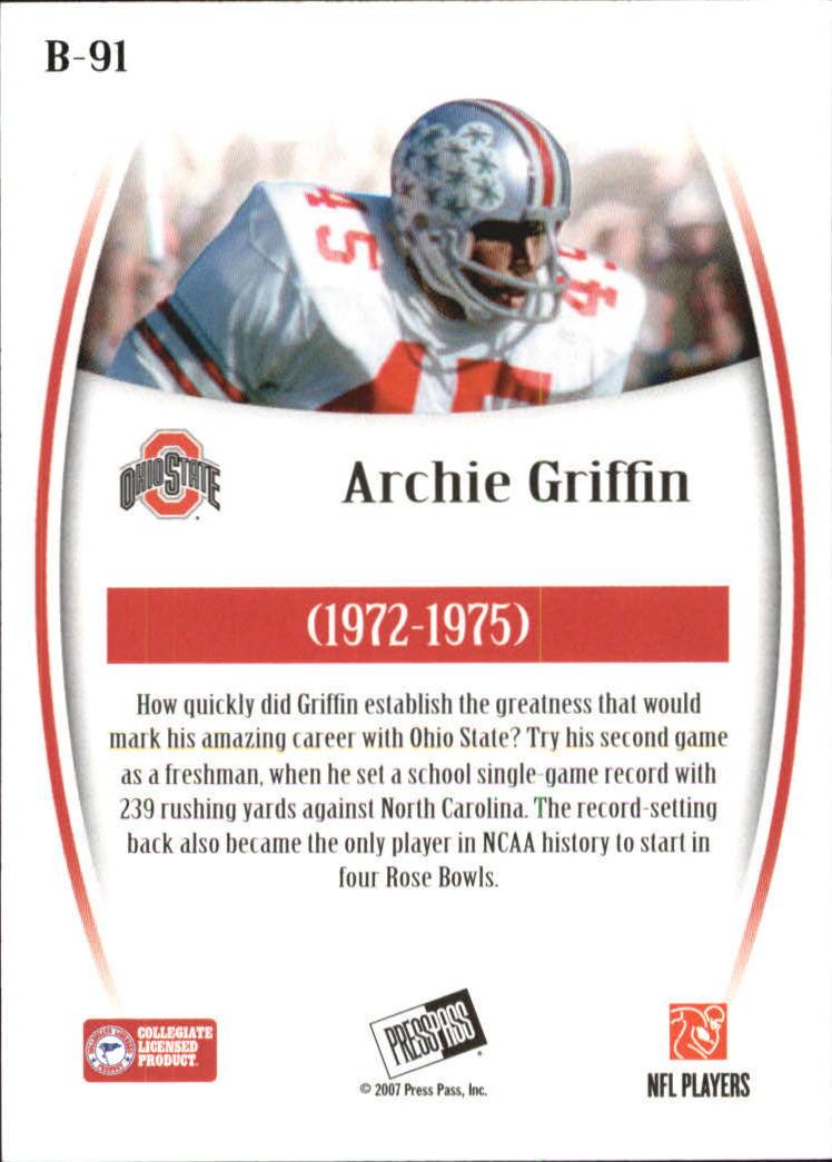 2007 Press Pass Legends Bronze #91 Archie Griffin back image