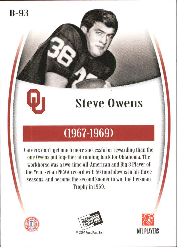 2007 Press Pass Legends Bronze #93 Steve Owens back image