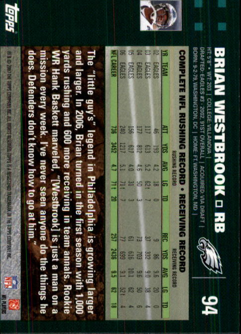 2007 Topps #94 Brian Westbrook back image
