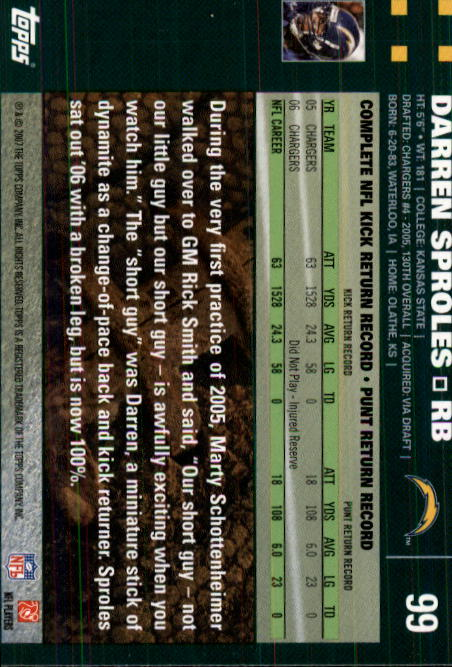 2007 Topps #99 Darren Sproles back image