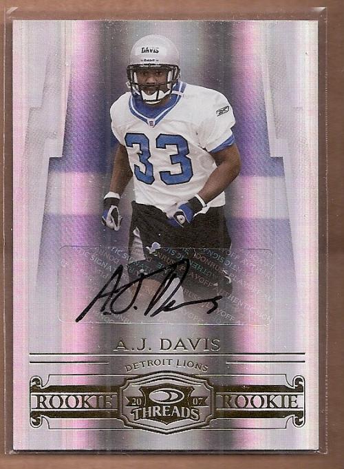 2007 Donruss Threads Rookie Autographs #181 A.J. Davis/250