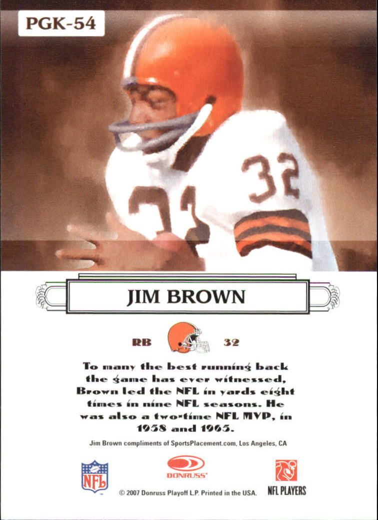 2007 Donruss Threads Pro Gridiron Kings Gold #54 Jim Brown back image