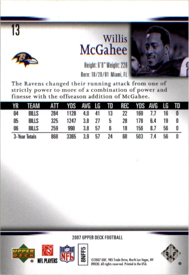 2007 Upper Deck #13 Willis McGahee back image