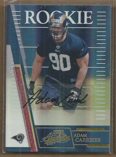 2007 Absolute Memorabilia #202 Adam Carriker AU RC