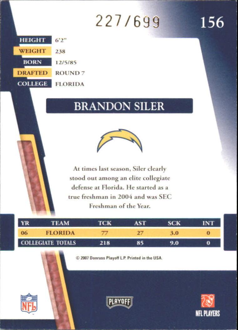 2007 Absolute Memorabilia Retail #156 Brandon Siler RC back image
