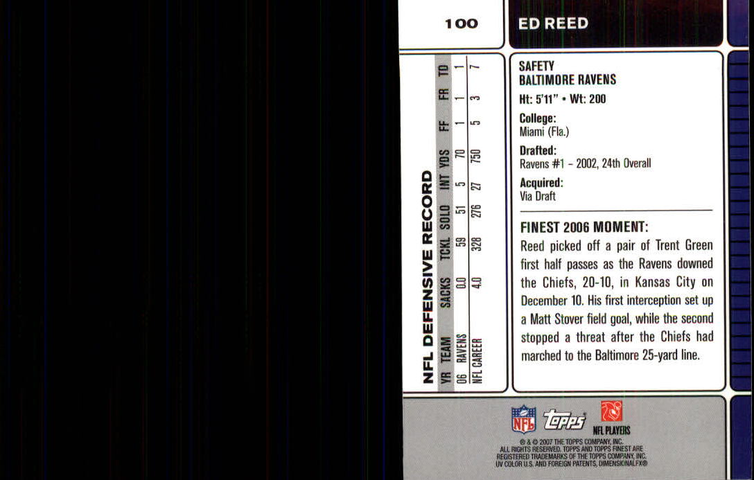2007 Finest #100 Ed Reed back image