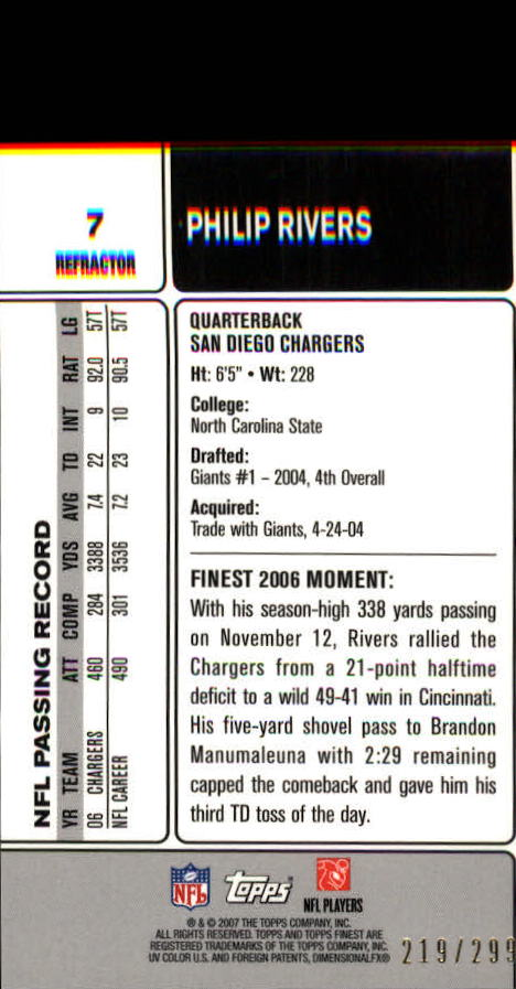 2007 Finest Blue Refractors #7 Philip Rivers back image